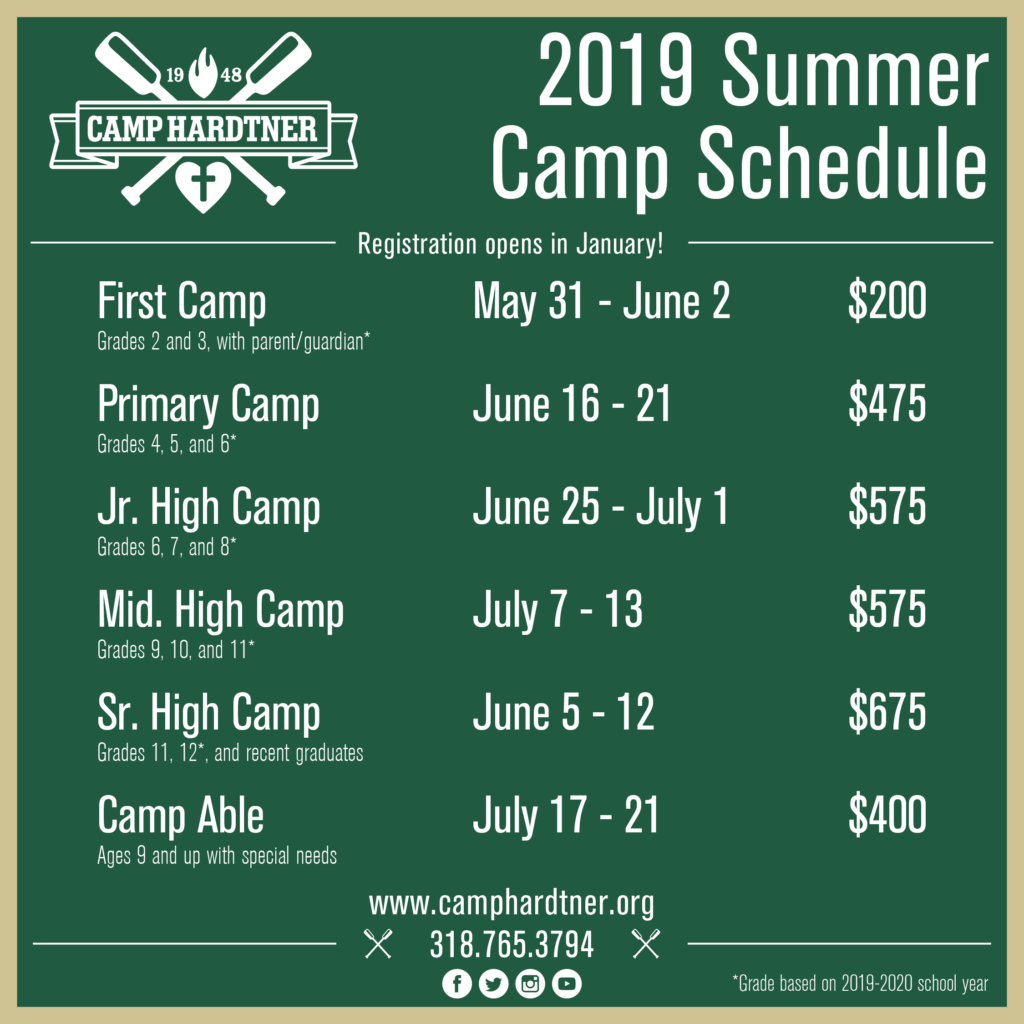 2019 Summer Camp Dates + Rates - Camp Hardtner